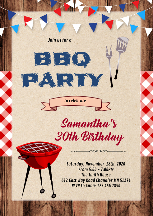 Stock the bar bbq birthday invitation A6 template