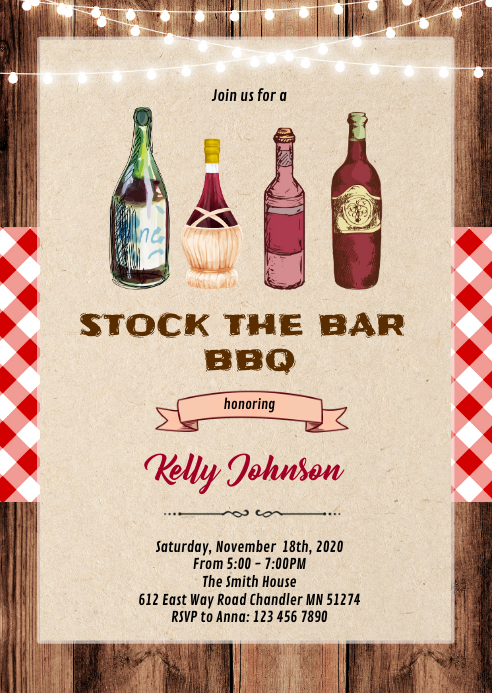 Stock the bar bbq invitation A6 template