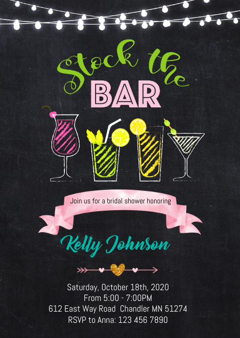 Stock the bar party invitation A6 template