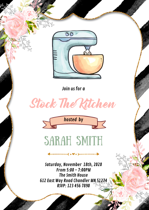 Stock the kitchen shower invitation A6 template