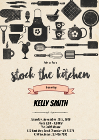 Stock the kitchen shower party invitation A6 template