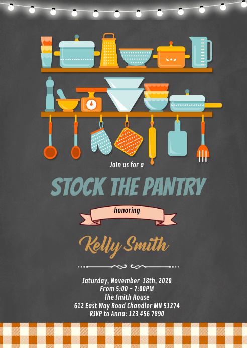 Stock the pantry shower invitation A6 template