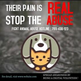 Stop animal abuse awareness design Instagram Post template