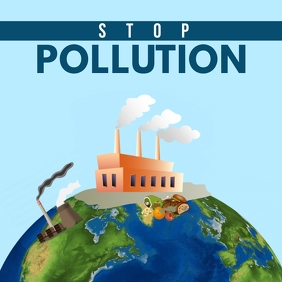 Stop Pollution instagram post Instagram-opslag template