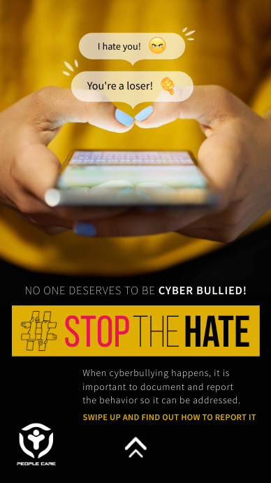 Stop the hate Cyberbullying Instagram Story template