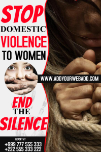 STOP violence to women Poster template