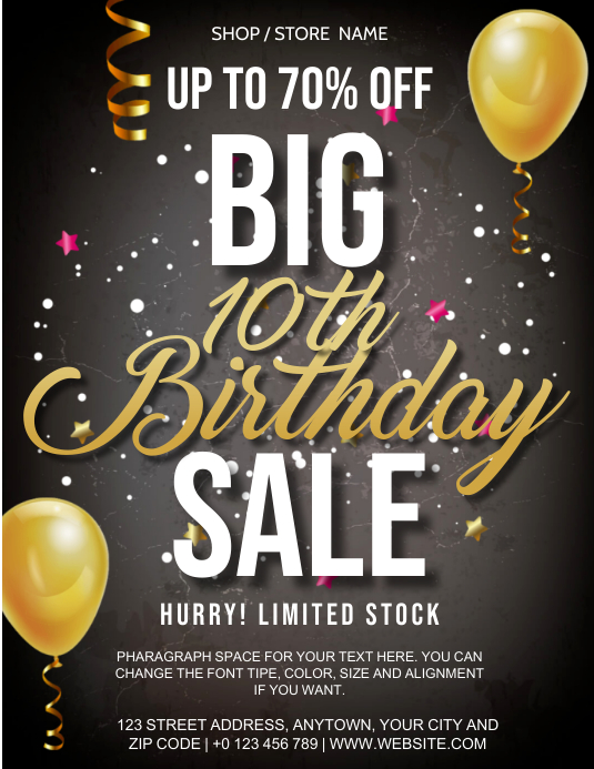 STORE BIG BIRTHDAY SALE FLYER AD Template