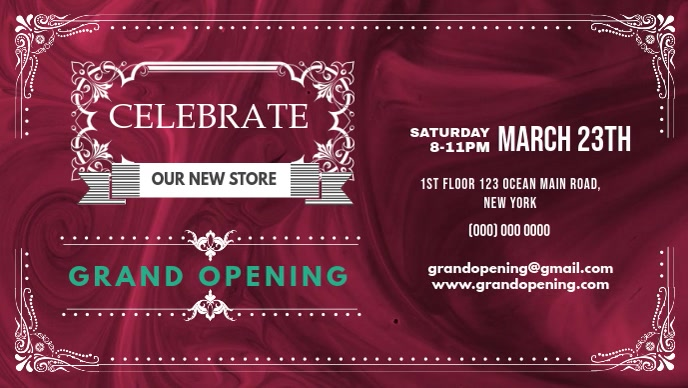 Store Grand Opening Celebration Facebook Cover Video