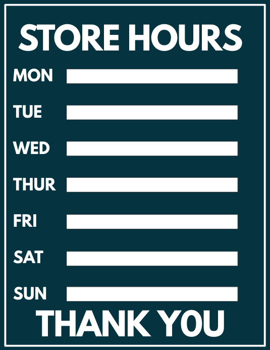Store Hours Template Postermywall