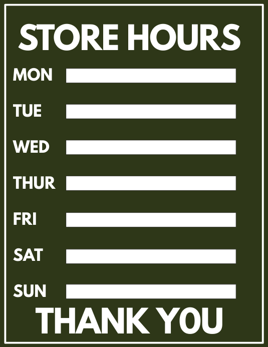 Store Hours Template | PosterMyWall