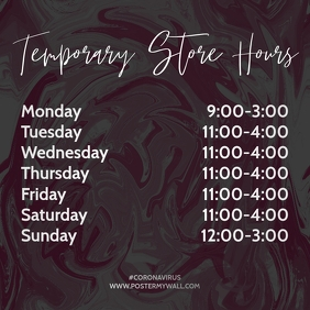 Store Hours of Work Instagram Post