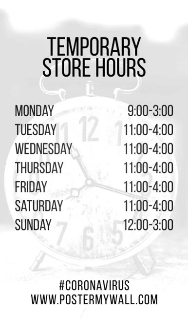 Store Hours of Work Instagram Post Video template