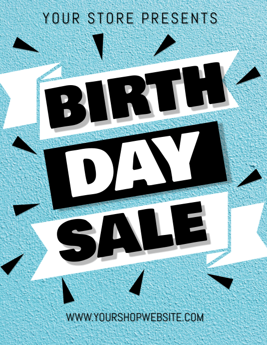 Store Shop Birthday Sale Template Volante (Carta US)