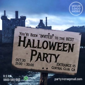 Storm Castle Billboard Sign Halloween Party