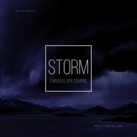 Storm Clouds Blue Dark Mixtape CD Cover template