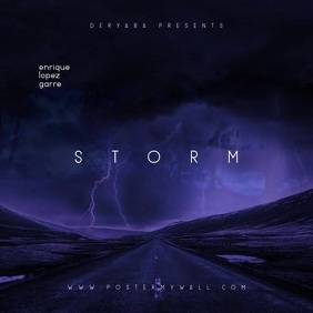 Storm Clouds Road Dark Video Mixtape CD Cover Kvadrat (1:1) template