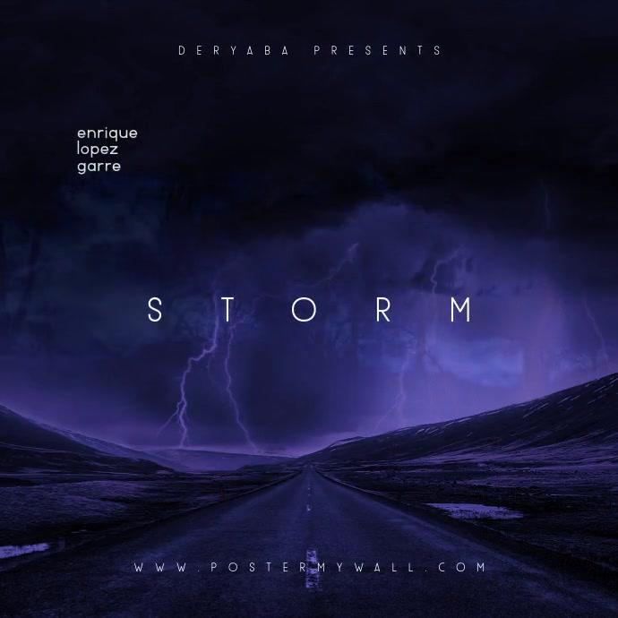 Storm Clouds Road Dark Video Mixtape CD Cover Persegi (1:1) template