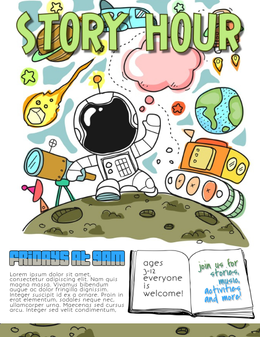 story hour library school flyer template
