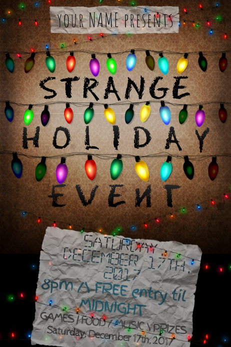 strange x mas new year things party event lights club theme