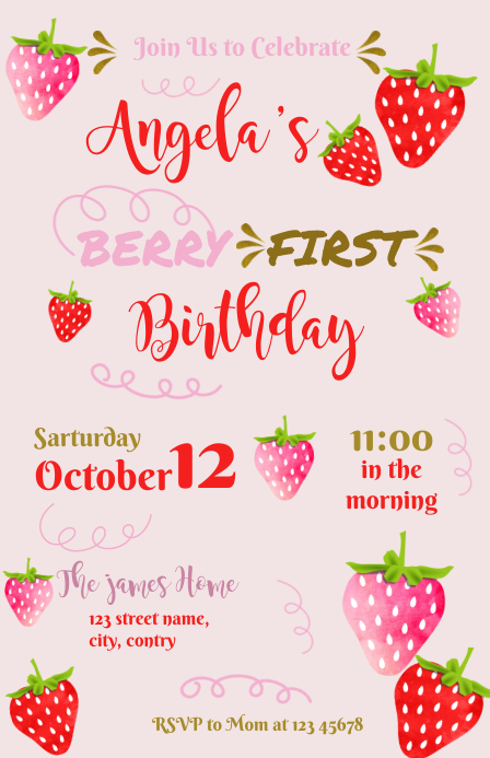 Strawberry Berry First Birthday Media Página Ancho template