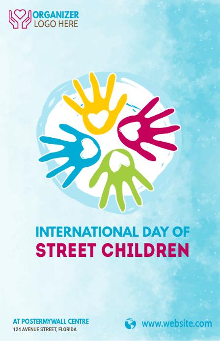 Street children day Demi-page de format Wide template