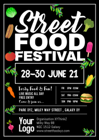 Street Food Festival Poster flyer promo food A4 template