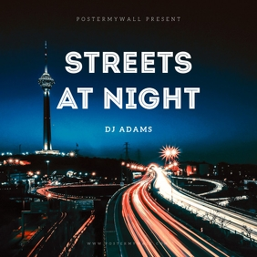 Streets at night album cover template
