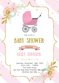 Stroller baby shower invitation
