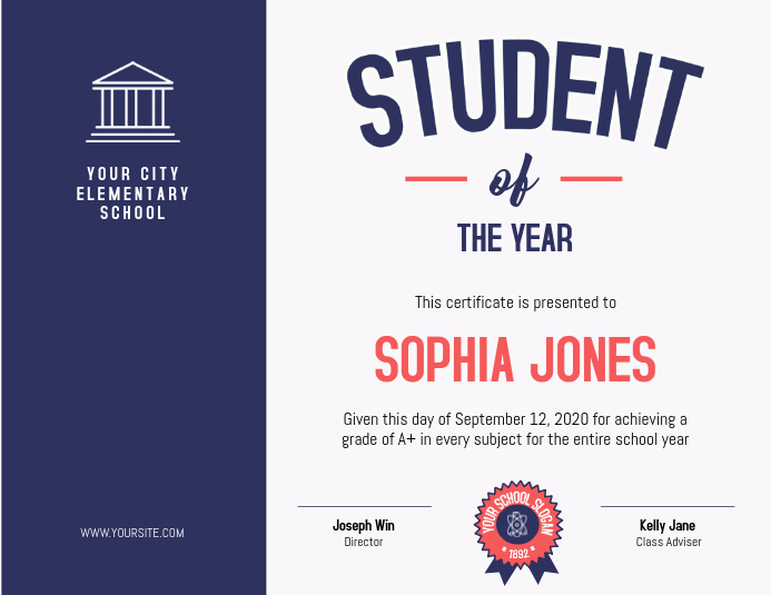 Student of the Year Blue Certificate