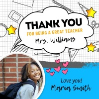 Student Thanking Teacher Square Video template