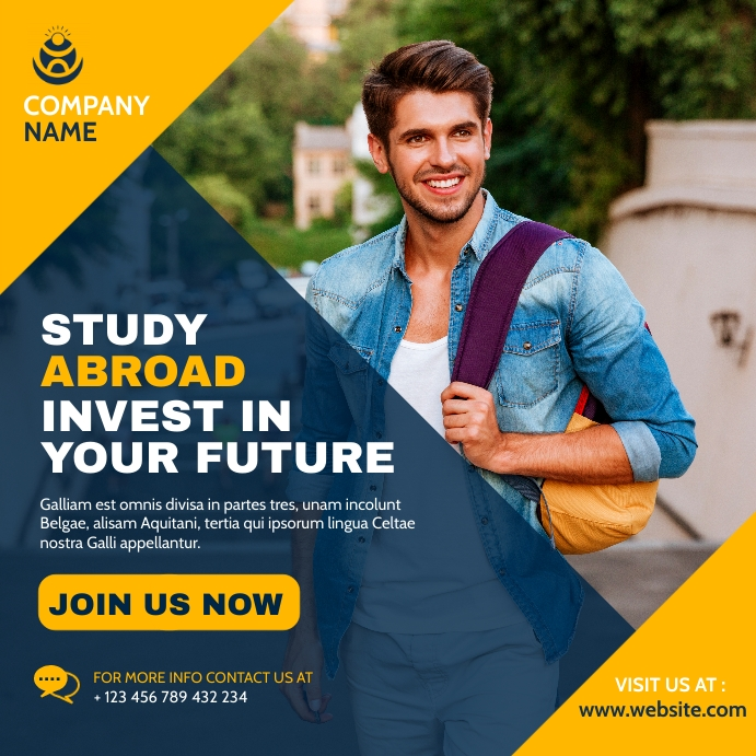 study abroad advertisement instagram post ban template