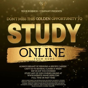 Study Online From Home Template Persegi (1:1)