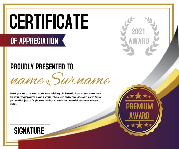 Stylish Certificate Template design 中型广告