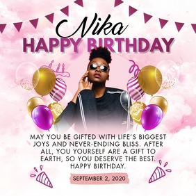 Stylish Pink Happy Birthday Invitation Instagram Post template
