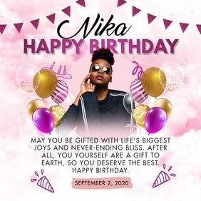 Stylish Pink Happy Birthday Invitation Instagram Post template