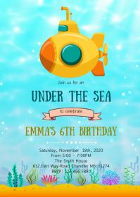 Submarine birthday party invitation