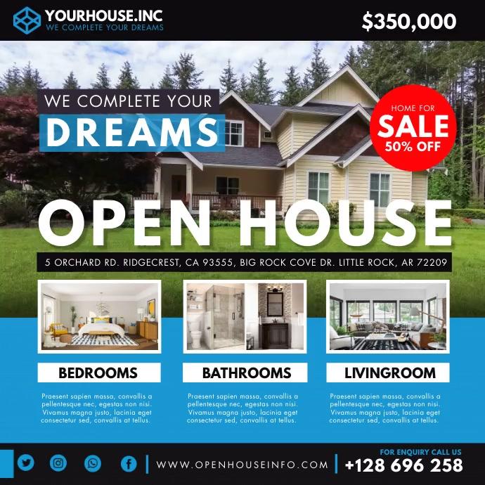 Suburban Real Estate Open House Instagram Vid Square (1:1) template