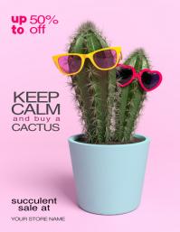 Succulent Cactus Sale Plant Flyer Template
