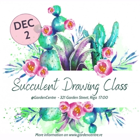 Succulent drawing class Instagram na Post template