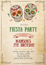 Sugar skull birthday party invitation