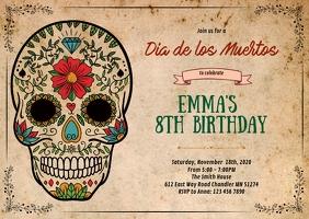 Sugar skull birthday party invitation A6 template