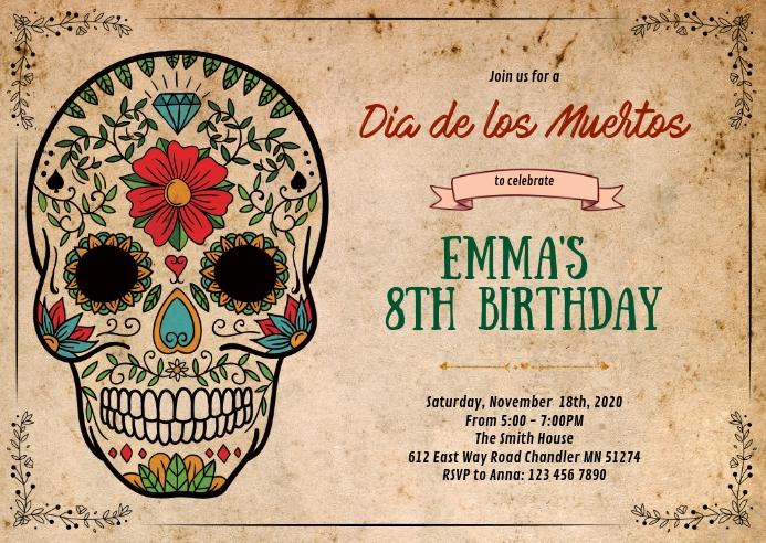 Sugar skull birthday party invitation