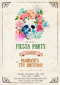 Sugar skull birthday party invitation A6 template
