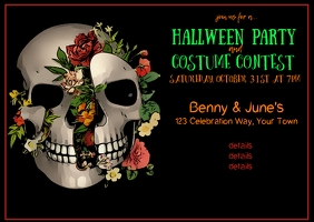 Sugar Skull Halloween Invitation Poskaart template