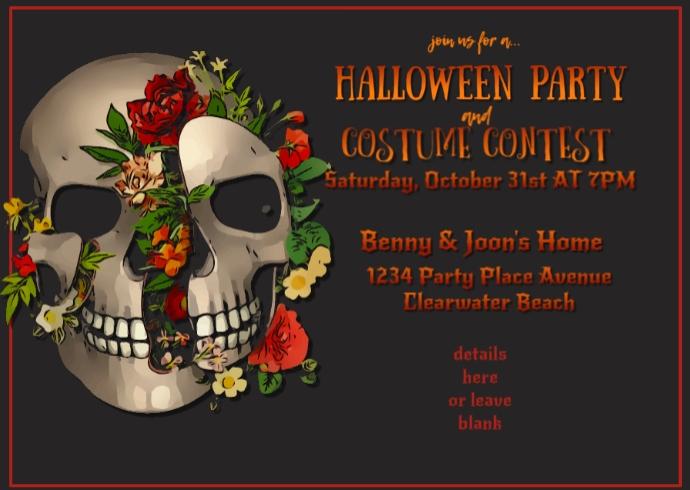 Sugar Skull Halloween Invitation