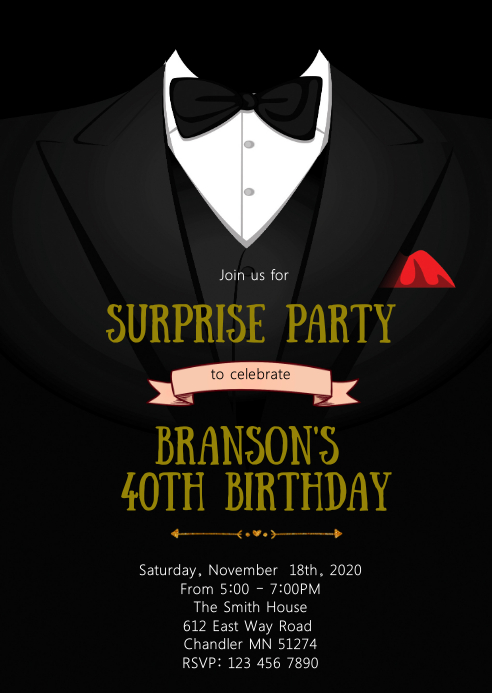 Suit birthday party invitation A6 template