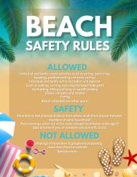 Summer, Beach rules Flyer (Letter pang-US) template