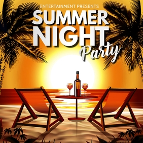 Summer, Party flyer, Hello Summer Square (1:1) template