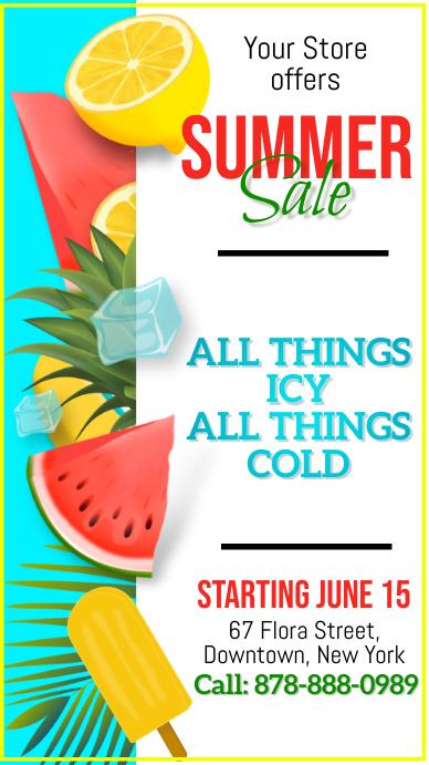 Summer, Sale Digitalt display (9:16) template