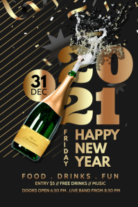 New year, 2021, Event, party Plakkaat template